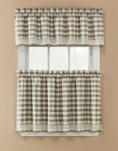 Window Accents Norwalk Plaid Tier and Valance Set, 58-Inch by 36-Inch, Sand (Polyester Tiers Valance)