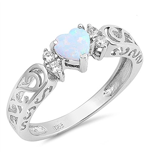Sterling Filigree Heart Ring (Heart Sterling Silver Synthetic White Lab Opal Cz Filigree Ring)