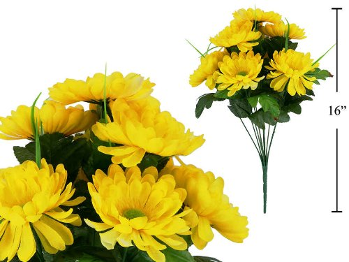 Artificial Flower, 10-stem Deluxe Gerbera (Yellow)