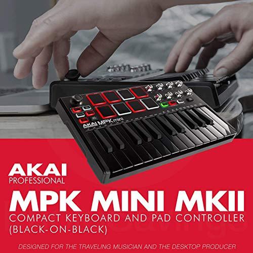 Akai Professional MPK Mini MKII 25-Key Ultra-Portable USB MIDI Drum Pad & Keyboard Controller (Black on Black) with Pro Audio Cable Bundle