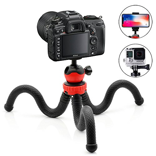 Aobelieve Flexible Ball Head Tripod for iPhone, Android Phone, GoPro, DSLR Camera and More, Included Universal Smartphone Clamp and Go Pro Adapter by Aobelieve