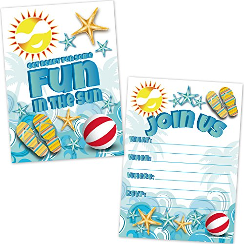 (Summer Beach Party Invitations - Swimming Pool Party Invites (20 Count with Envelopes) - Kids Summer Birthday Party)