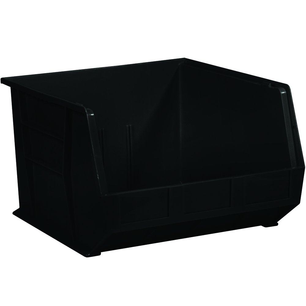 Aviditi BINP1816K Plastic Stack and Hang Bin Boxes, 18'' x 16 1/2'' x 11'', Black (Pack of 3)