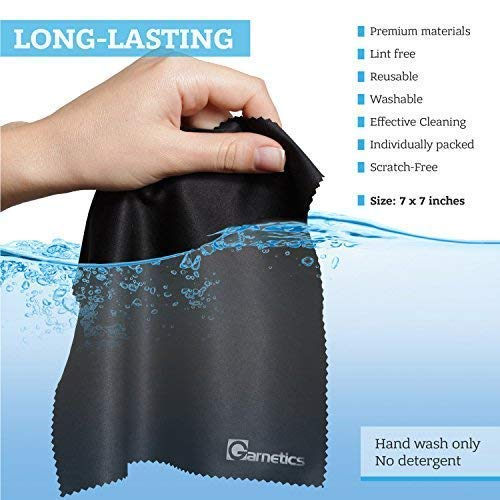 Garnetics Microfiber Cleaning Cloth (12 Pack) - to Clean Glasses, Lens, Cell Phone, Tablet, Laptop, TV, LED, LCD Screens - Premium Lintfree Fiber - Computer Screen and Eyeglass Cleaner