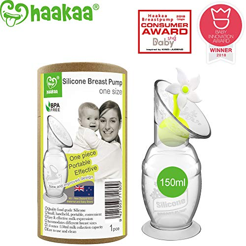 Haakaa Silicone Breastpump Breastfeeding with Suction Base and Flower Stopper 100% Food Grade Silicone BPA PVC and Phthalate Free (5oz/150ml) (White)