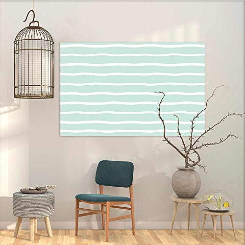 Oncegod Art Original Oil Painting Sticker Mint Horizontal Wavy Lined Color Striped Abstract Soft Toned Nautical Art Display Contemporary Abstract Art Almond Green White W35 xL31