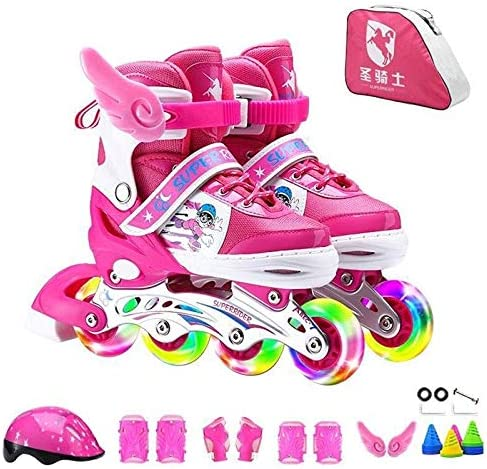 WTYD アウトドアスポーツ用品 調整可能なフルフラッシュ子供単列4輪ローラースケートスケート靴贅沢セット、サイズ:S(ピンク) アウトドアライフのために ピンク