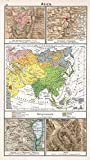 School Atlas | 1896 Asien. Religionskarte | Historic Antique Vintage Map Reprint