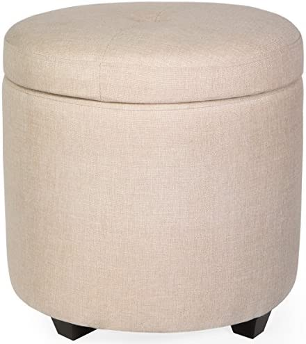 Barton Ottoman Fabric Tufted Button Round Storage Ottoman Stool Cushion Button Top Footrest, Beige