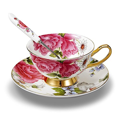 Rose White Saucer - NDHT Bone China Ceramic Tea Cup Coffee Cup Set Coffee Cup with Saucer,Pink Rose,White and Pink