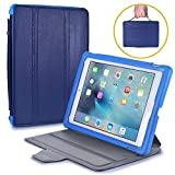 BAM BINO BOX Kids Case compatible with iPad 6, iPad 5, iPad Air 2, iPad Air 1, iPad 9.7 2017 2018 | Shock Proof Heavy Duty Cover for Kids | Boys Girls | Shoulder Strap, Handle & Stand | Apple (Blue)