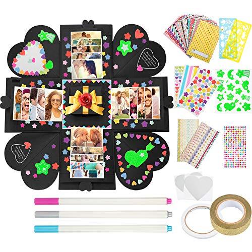 Tatuo Creative Gift Box with 56 Kinds of Scrapbook DIY Photo Album Accessories Kit for Birthday Christmas Anniversary Valentine Wedding, Black
