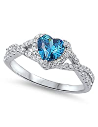 Heart Blue Simulated Topaz Halo Infinity Promise Ring .925 Sterling Silver Sizes 4-12