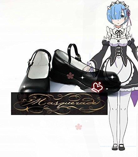 Re:ゼロから始める異世界生活 レム コスプレ靴 コスプレブーツ コスプレシューズ オーダーサイズ製作可能 大人気 (22cm  女性)