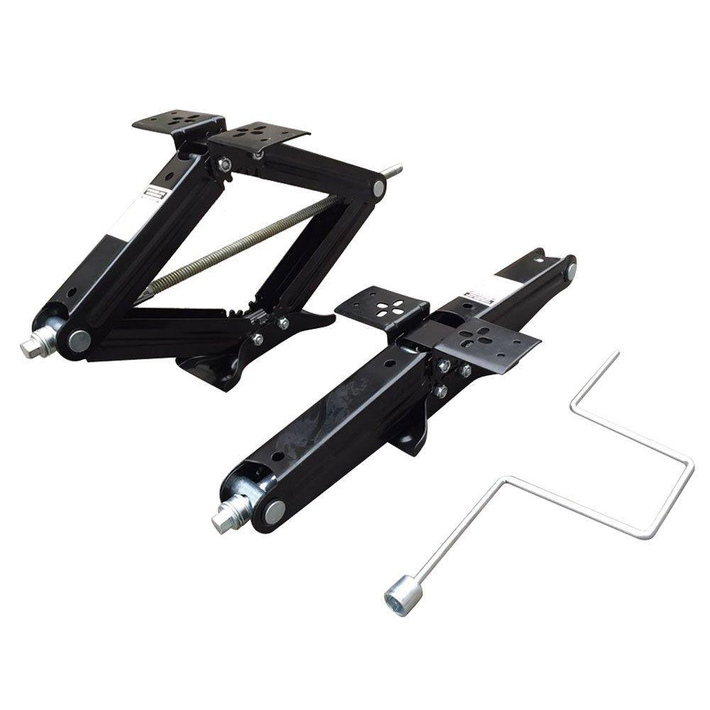 Set of Two 5000 lb 24'' RV Trailer Stabilizer Leveling Scissor Jacks w/Handle