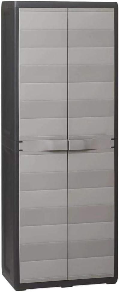 EBTOOLS - Armario de almacenamiento de jardín con 3 estantes ajustables, armario de jardín de polipropileno duradero, práctico para jardín, 65 x 38 x 171 cm, color negro y gris