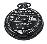 Jechin Men's Black Vintage Pocket Watch To My Son's Gift Watches
