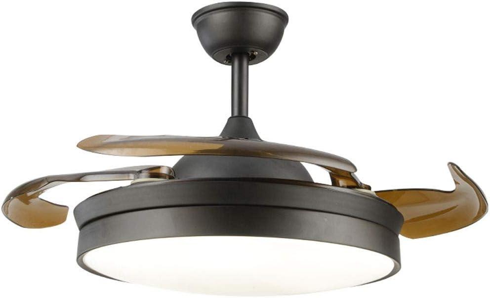 RXM Moderno Techo Invisible De Las Luces LED Del Ventilador Retráctil 4 Retráctil Cuchillas Sala Comedor Dormitorio Lámparas Eléctricas Del Ventilador [Energía Nivel A ++] (Color : Negro)