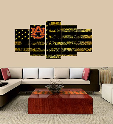 Auburn Living Room Set - PEACOCK JEWELS [LARGE] Premium Quality Canvas Printed Wall Art Poster 5 Pieces/5 Pannel Wall Decor Auburn Tigers logo Painting, Home Decor Football Sport Pictures- Stretched