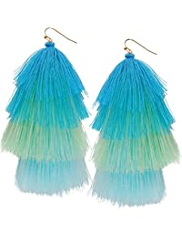 Humble Chic Hula Fringe Tassels - Lightweight Ombre Layered Thread Statement Drop Dangle Earrings