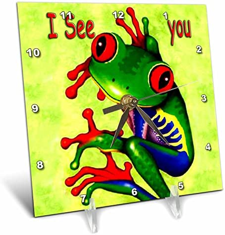 3dRose LLC Frog I See You Desk Clock, 6 by 6-Inch