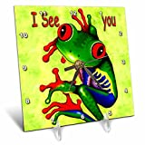 3dRose LLC Frog I See You Desk Clock, 6 by 6-Inch For Sale