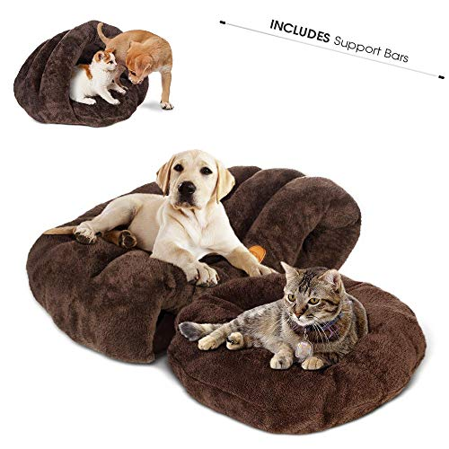 Cat Bed Pet Triangle Cave Bed Portable Cat Nest Bed Pet House Bed Indoor Outdoor Portable Cat/Dog Soft Sleeping Cushion Bed for Small Dog Cat Rabbit Animals(24x24x16.5In)
