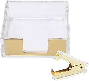 MultiBey Clear Acrylic Desktop Set Self-Stick Note Holders & Staple Removers Tool Memo Pad Holder Dispenser Office School Supplies (Gold)