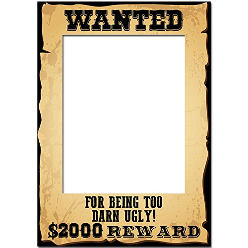 A3 Wild West Wanted Sign Poster Cowboy Photo Frame Prop Selfie Party Decoration (Too Darn Ugly) (Halloween Wanted Poster)