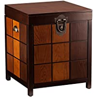 Southern Enterprises Hendrik Storage Trunk End Table, Espresso and Multi-Tone Finish