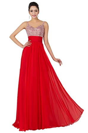 1b385a33c5f Avril Dress Spaghetti Straps Beading Chiffon Floor Length Evening Prom Dress -6-Red