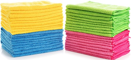 Simpli-Magic 79107-36 Multi Color Large Microfiber Cloths Pack of 36, Ideal for Home, Kitchen, Auto, Glass, Makeup Removing & Pets, 36 Pack