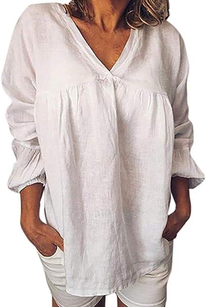VRTUR Camisa Larga único Estilo Otoño Top sin Mangas con Cuello en V y Estampado de Color sólido Suelto de Manga Larga para Mujer: Amazon.es: Ropa y accesorios