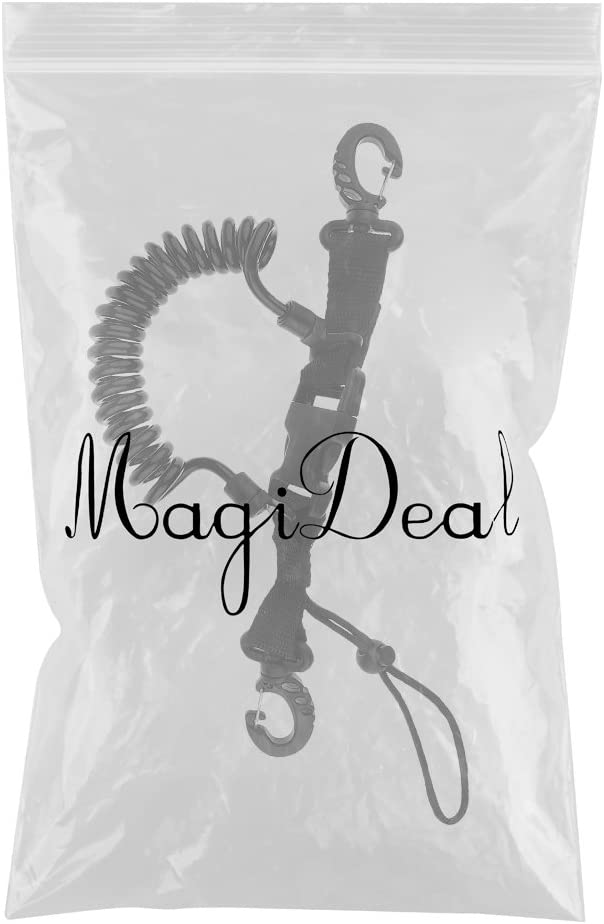 MagiDeal Scuba Diving Dive Snappy Coil Spring Spiral Lanyard With Clips Quick Release Buckle