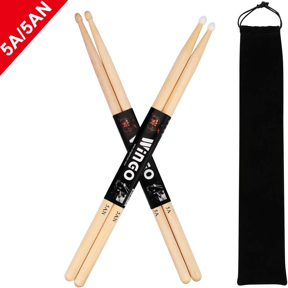 5A/5AN Drum Sticks with Wood Tips or Nylon Tips - WINGO 2 Pack Maple Drumsticks with Carrying Bag Holder