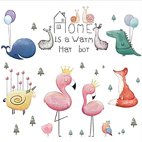 Stickers Muraux Enfants Dessin Animé Flamants Roses Pour