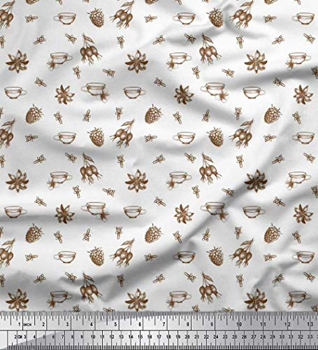 - Soimoi White Cotton Cambric Fabric Tea Cup,Star Anise & Raspberry Fruits Print Fabric by The Yard 56 Inch Wide