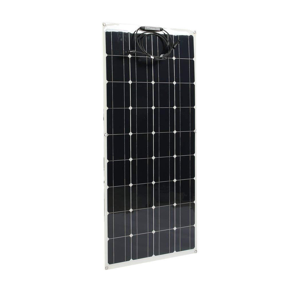 Solar Panel Charger 12V Monocrystalline Solar Panel Kit Lightweight Flexible Solar Power System for 12V Battery Motorhome RV Marine Boat Yacht Caravan Camper 160W Solar Panel Car Battery Charger