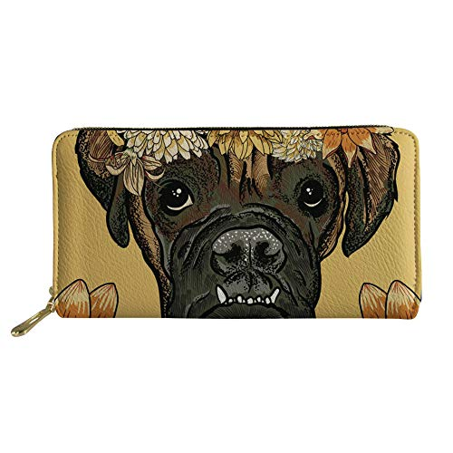 Daisy Boxers - Coloranimal Women Girls Long Clutch Wallet Purse Funny Animal Daisy Boxer Pattern Big Capacity Credit Cards Coind Purse Organizer Slim Zipper Around Leather Wallets