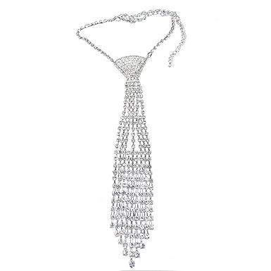 Fewxdsad Moda de lujo Diamond Tie Rhinestone Collar Tie Accesorios ...