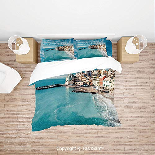 FashSam Duvet Cover 4 Pcs Comforter Cover Set Panorama of Old Italian Fish Village Beach Old Province Coastal Charm Image for Boys Grils Kids(King) ()