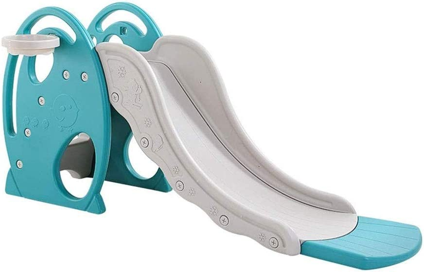 JIACTOP Jardín de Diapositivas, niños Slide Plegable Reproducir presentación de Diapositivas autoportante del aro de Baloncesto Conjunto de Juguete de Juego de Interior al Aire Libre Jardín Juguetes