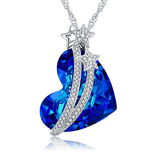- NEWNOVE 925 Sterling Silver Heart of Ocean Pendant Necklaces for Women Crystals from Swarovski (C_Blue Star)
