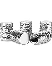 kwmobile 5x autoventieldoppen - Ventieldopjes van metaal in zilver - Ook voor fiets en motor