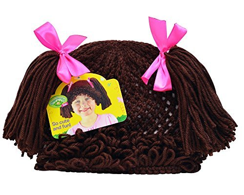 [Cabbage Patch Kids Childs Dress-Up Knit Beanie Wig with Brown Pigtails] (Cabbage Head Costume)