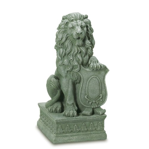 Gifts & Decor Lion Guardian Crested Shield Home Garden Decor Statue (Concrete Lion Statues)