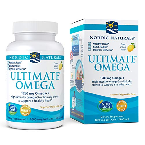 Nordic Naturals, Ultimate Omega, Fish Oil Supplement with Omega-3 DHA and EPA, Supports Heart Health and Brain Development, Burpless Lemon Flavor, (30 servings) 60 soft gels (Difference Between Krill Oil And Fish Oil Supplements)