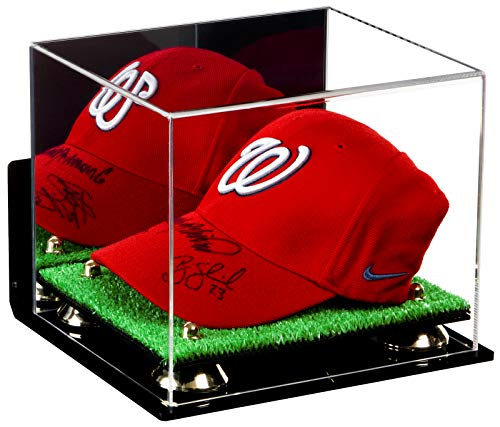 Deluxe Acrylic Baseball Cap Display Case Mirror, Wall Mount, Gold Risers and Turf Base (A006-GR)