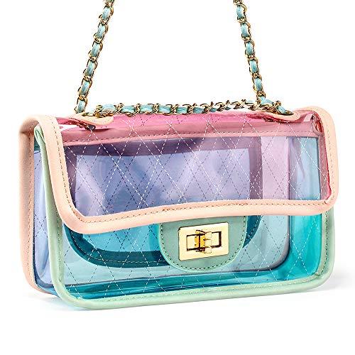 OCT17 Women Transparent PVC Plastic Cross body Durable Summer Shoulder Bag Clear Jelly Purse - Pink