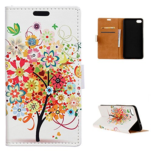 AICEDA (for Meizu U20) Flip Wallet Case Cover and 360 Degree Full Body Protective Bumper Cover, Premium Design Material - Colorful Tree